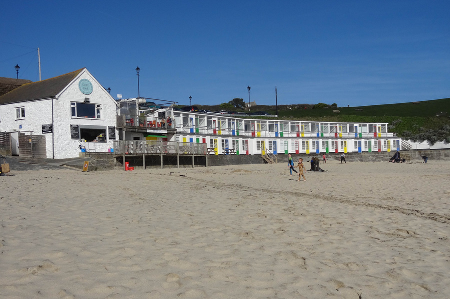 Porthgwidden Beach cafe and beach huts