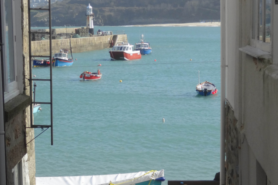 Cut-through to the harbour, 2-3mins from Porthmeor Court