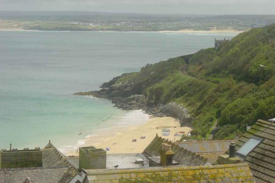 Porthminster Beach,  with Hayle on far side of the bay