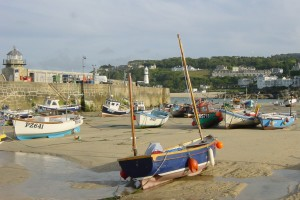 St Ives harbour tide out boats at rest