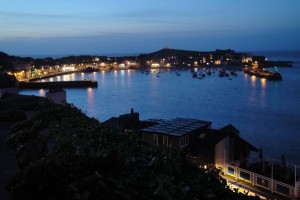 St Ives Harbour at night time in the summer